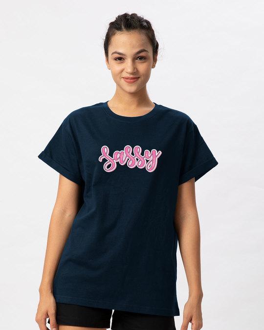 Shop Sassy Typo Boyfriend T-Shirt-Front
