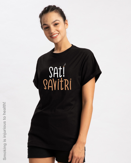 Shop Sati Savitri Boyfriend T-Shirt-Back