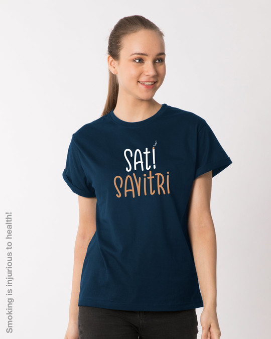 Shop Sati Savitri Boyfriend T-Shirt-Front