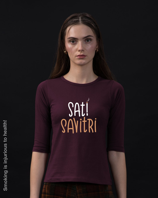 Shop Sati Savitri Round Neck 3/4th Sleeve T-Shirt-Front