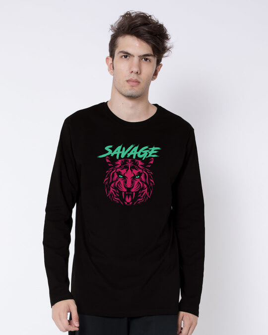 Shop Savage Beast Colorful Full Sleeve T-Shirt-Front