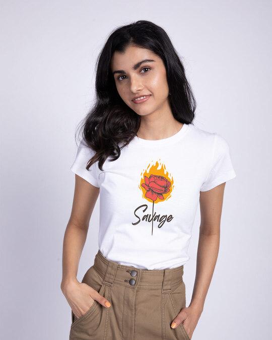 Shop Savage Burning Rose Half Sleeve T-Shirt-Front