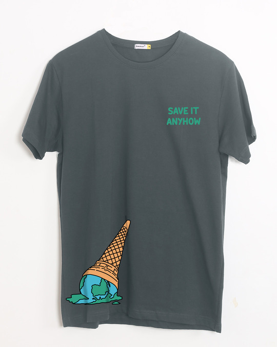 Shop Save It Anyhow Half Sleeve T-Shirt Nimbus Grey-Front
