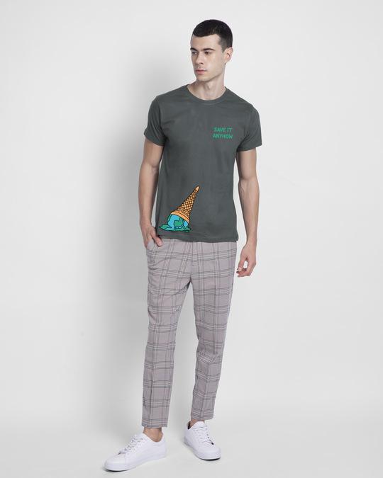Shop Save It Anyhow Half Sleeve T-Shirt Nimbus Grey-Full