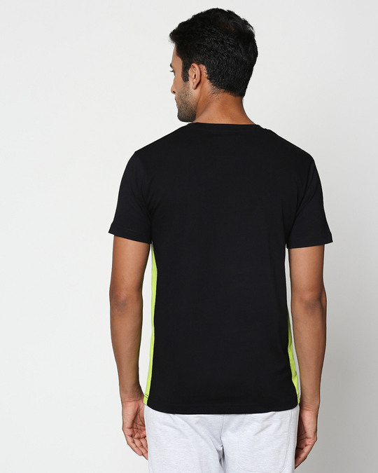 Shop Save Our Home Contrast Side Seam Panel T-Shirt- Black-Neon Green-Back