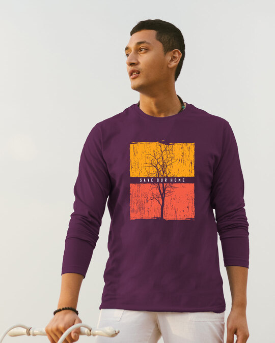 Shop Save Our Home Full Sleeve T-Shirt Deep Purple-Front