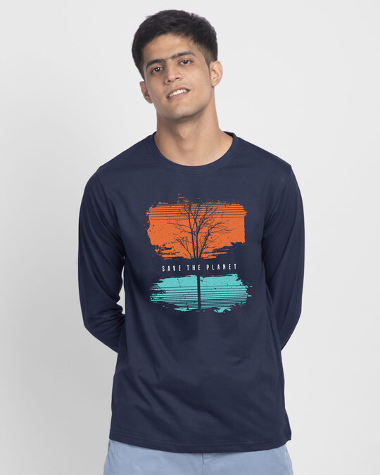 Shop Save The Planet Tree Full Sleeve T-Shirt-Front