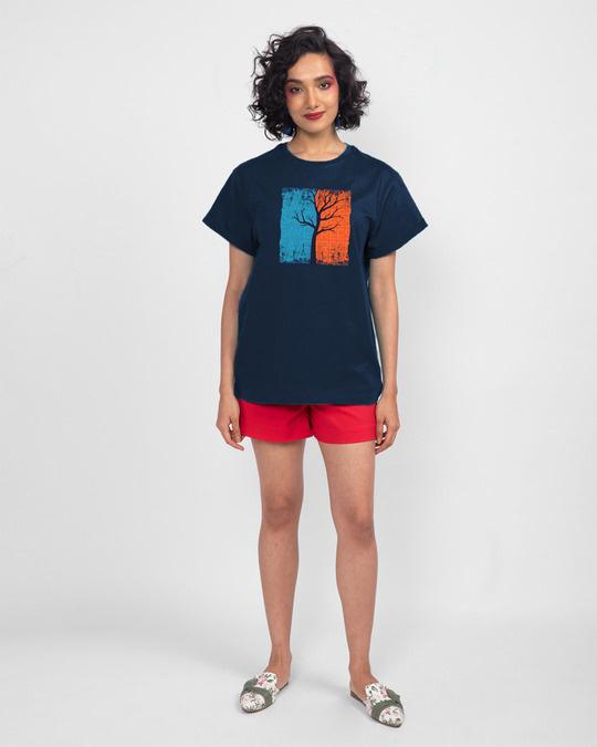 Shop Save Trees Boyfriend T-Shirt Navy Blue