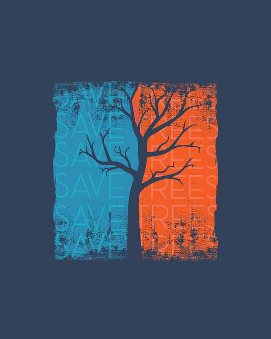Shop Save Trees Half Sleeve T-Shirt Navy Blue