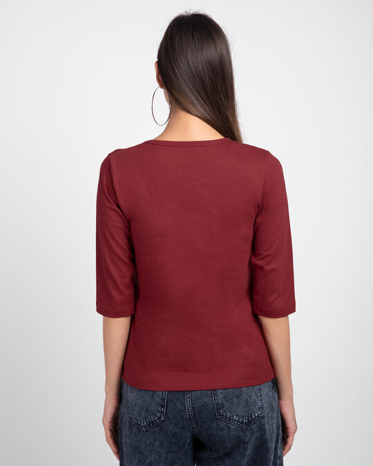 Shop Save your Home Round Neck 3/4 Sleeve T-Shirts Scarlet Red-Back