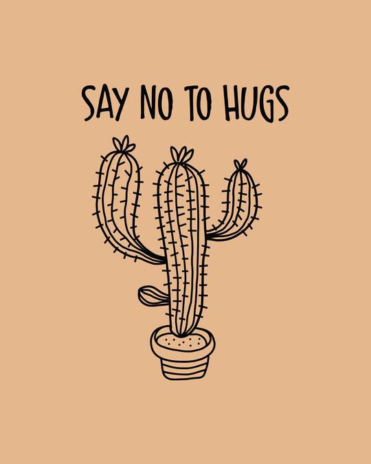 Shop Say No To Hugs Cactus Half Sleeve T-Shirt-Full