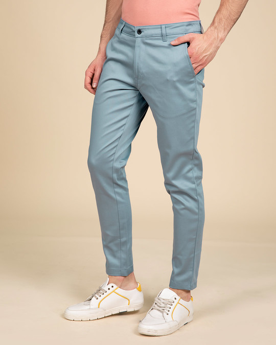 Shop Scandinavian Blue Slim Fit Cotton Chino Pants-Back
