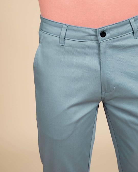 Shop Scandinavian Blue Slim Fit Cotton Chino Pants