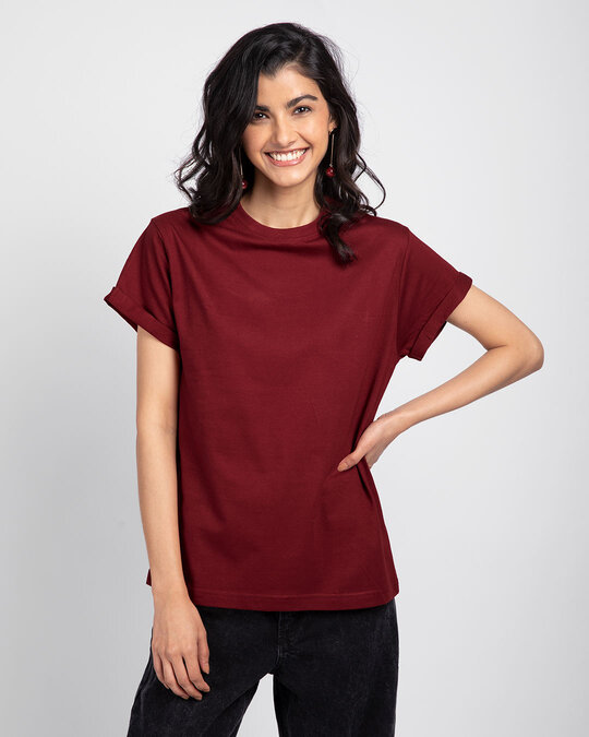 Shop Scarlet Red Boyfriend T-Shirt-Front