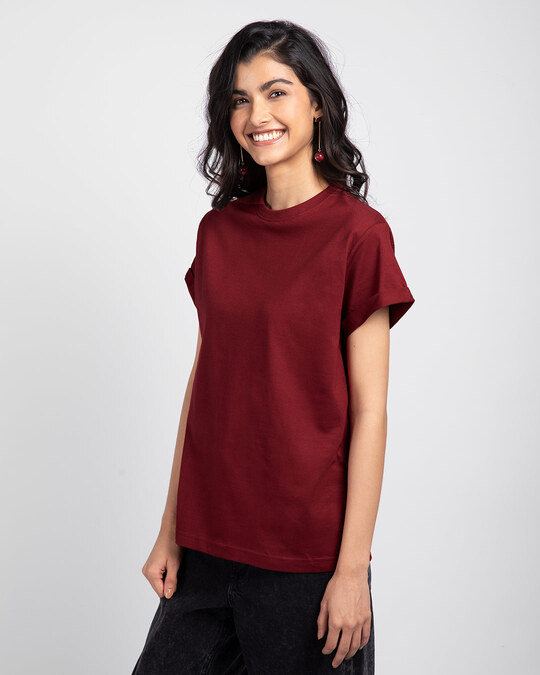 Shop Scarlet Red Boyfriend T-Shirt-Back