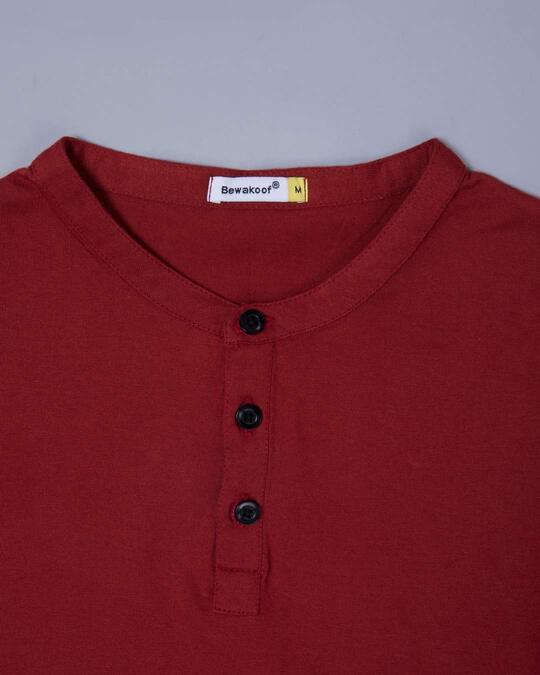 Shop Scarlet Red Full Sleeve Henley T-Shirt
