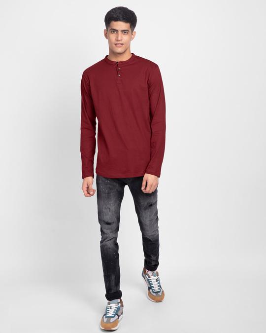 Shop Scarlet Red Full Sleeve Henley T-Shirt-Full