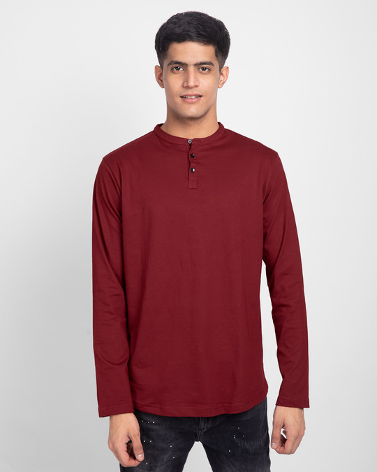 Shop Scarlet Red Full Sleeve Henley T-Shirt-Front