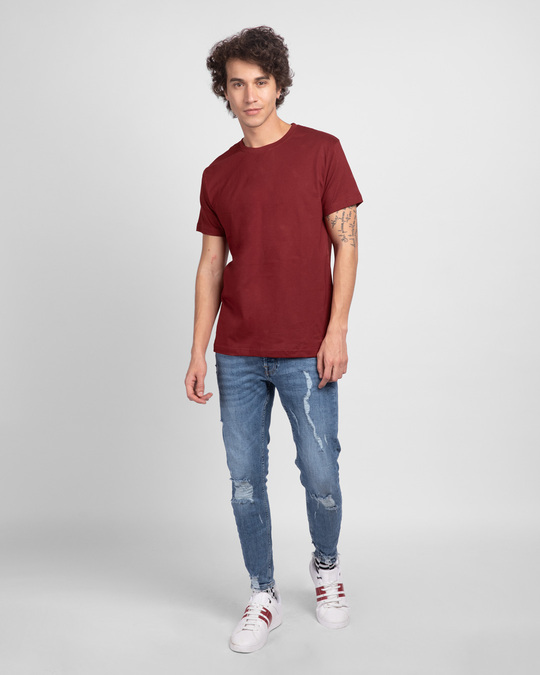 Shop Scarlet Red Half Sleeve T-Shirt-Full