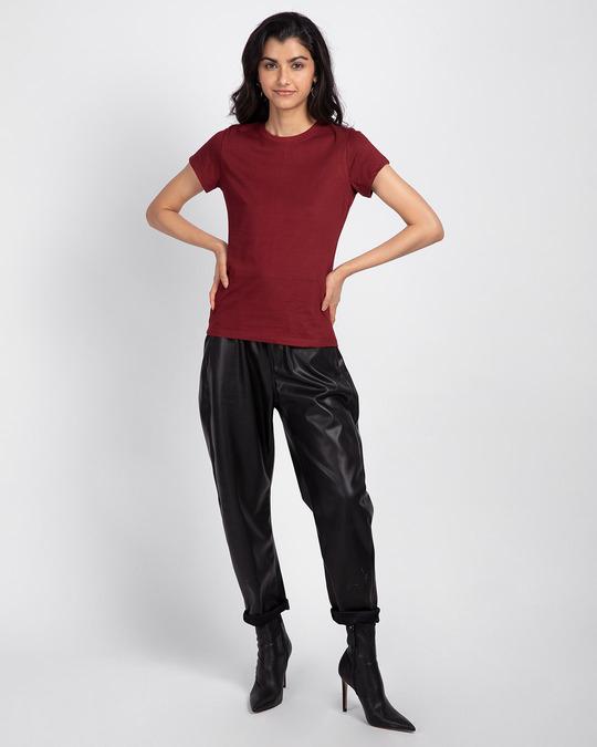 Shop Scarlet Red Half Sleeve T-shirt-Full