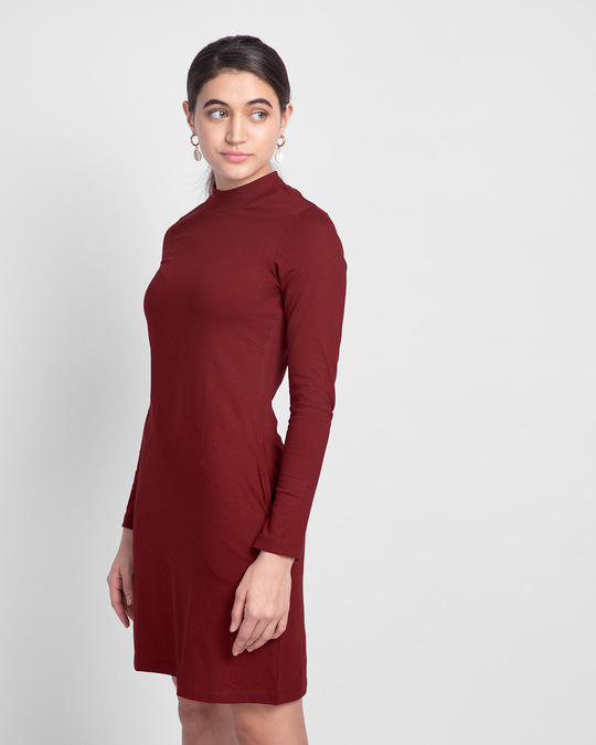 Shop Scarlet Red High Neck Pocket Dress-Back