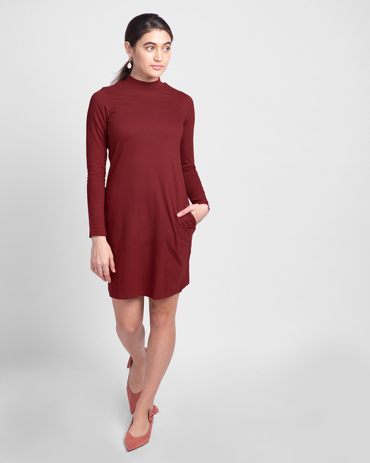 Shop Scarlet Red High Neck Pocket Dress-Full