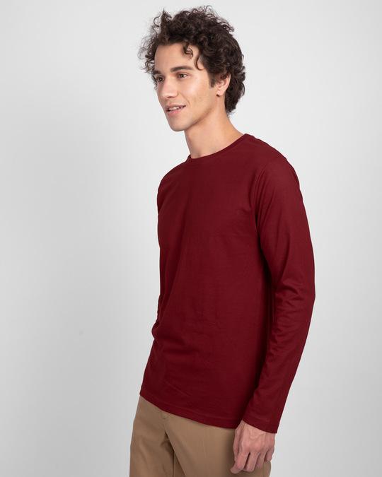 Shop Scarlet Red Plain Full Sleeve T-Shirt-Back