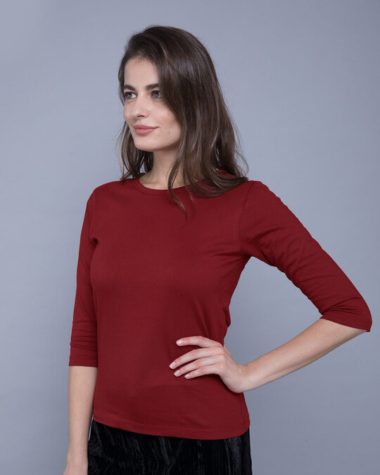 Shop Scarlet Red Round Neck 3/4th Sleeve T-Shirt-Back