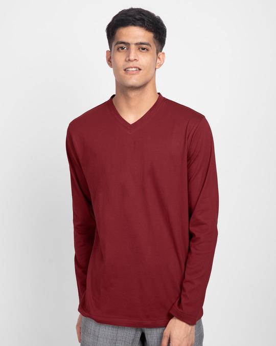 Shop Scarlet Red V-Neck Full Sleeve T-Shirt-Front