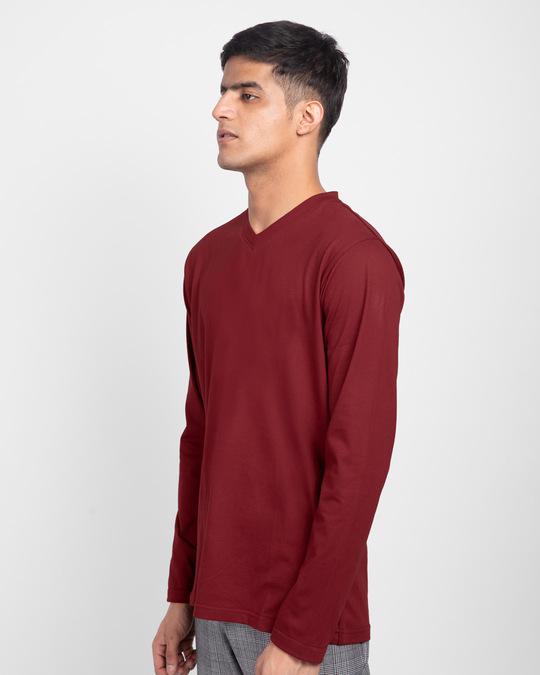 Shop Scarlet Red V-Neck Full Sleeve T-Shirt-Back