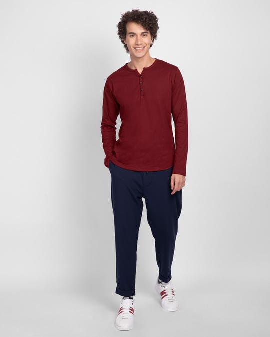 Shop Scarlet Red V-Neck Henley T-Shirt-Full