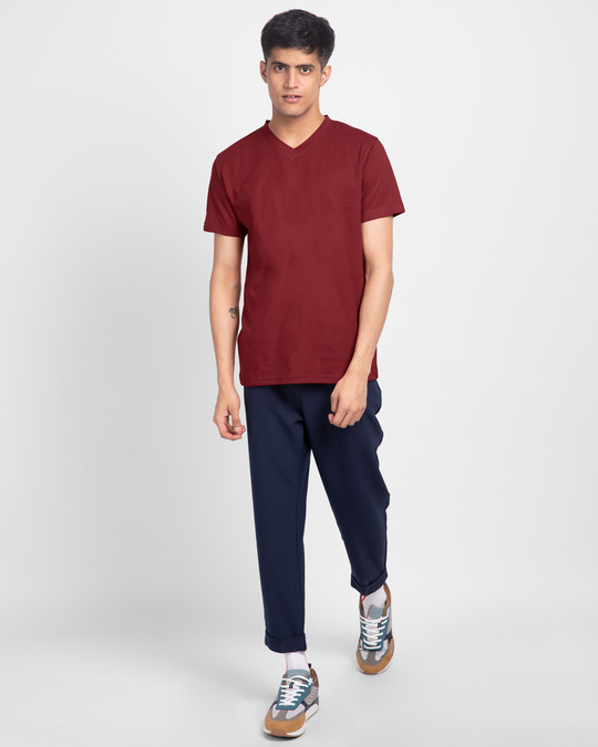 Shop Scarlet Red V-Neck T-Shirt-Full