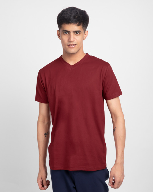 Shop Scarlet Red V-Neck T-Shirt-Front