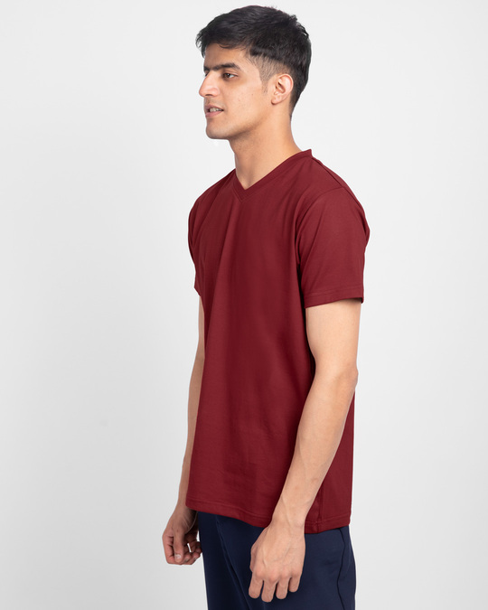 Shop Scarlet Red V-Neck T-Shirt-Back