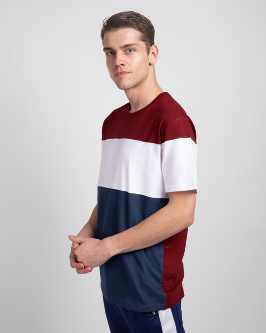 Shop Scarlet Red White & Galaxy Blue 90's Vibe Panel T-Shirt-Back