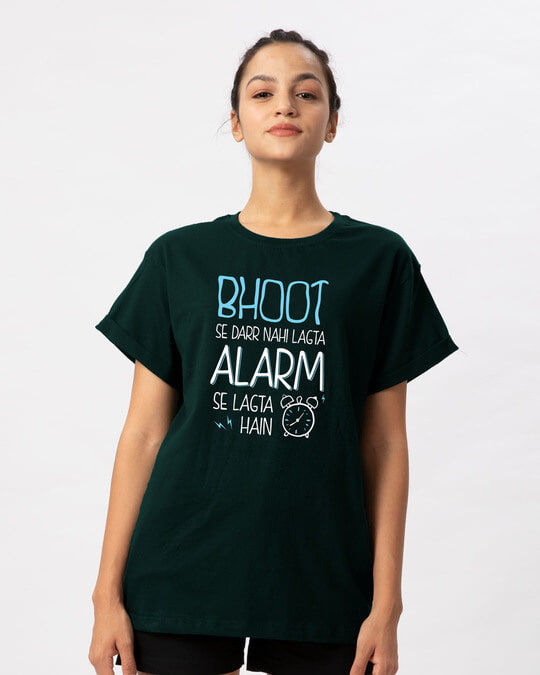 Shop Scary Alarm Boyfriend T-Shirt-Front