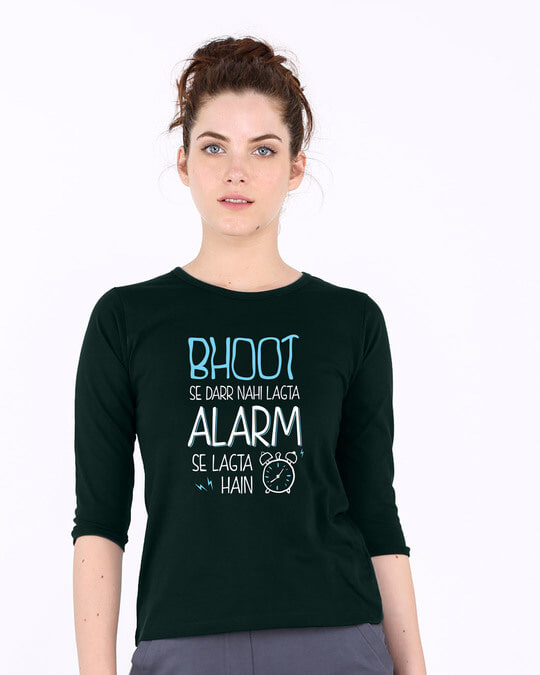 Shop Scary Alarm Round Neck 3/4th Sleeve T-Shirt-Front