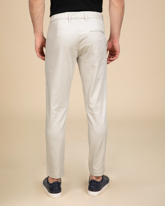 Shop Scotch Mist White Slim Fit Cotton Chino Pants-Full