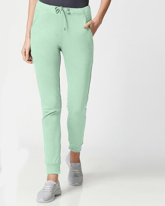 Shop Sea Green Casual Jogger Pants-Front