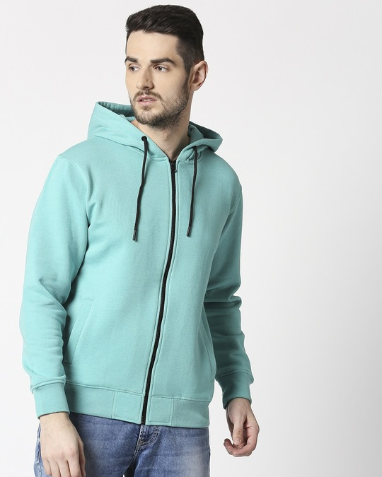 Shop Sea Green Melange Zipper Hoodie-Back