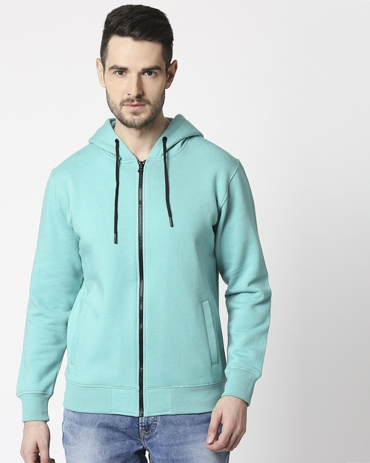 Shop Sea Green Melange Zipper Hoodie-Design