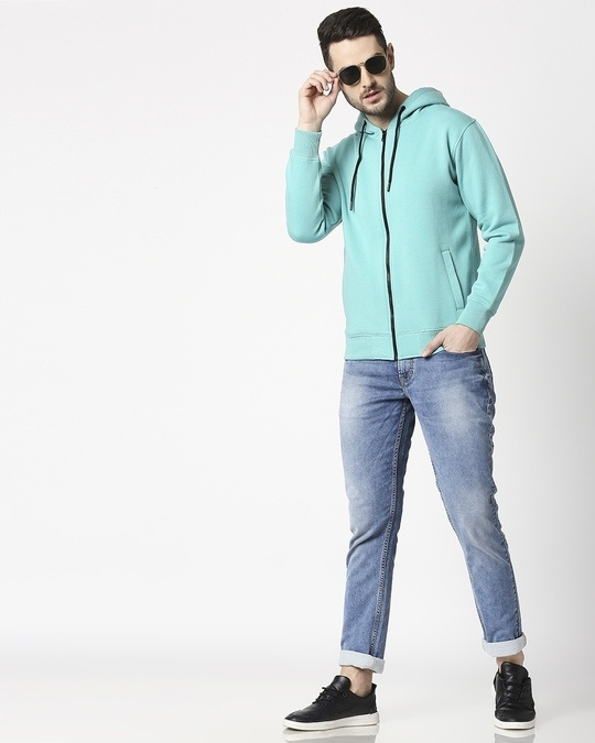 Shop Sea Green Melange Zipper Hoodie