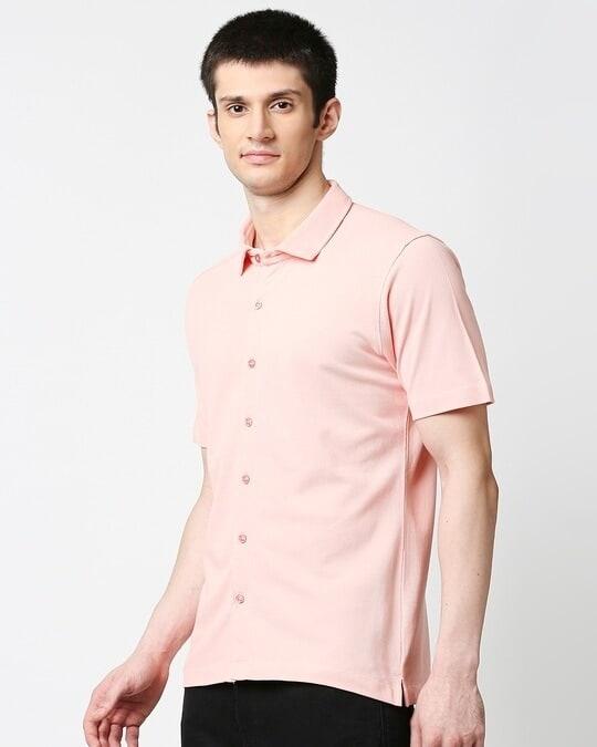 Shop Seashell Pink Solid Half Sleeve Shirt-Back