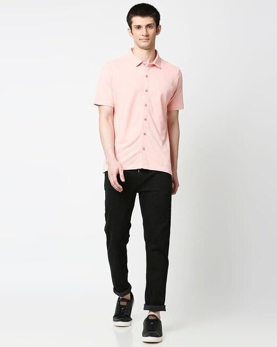 Shop Seashell Pink Solid Half Sleeve Shirt-Full