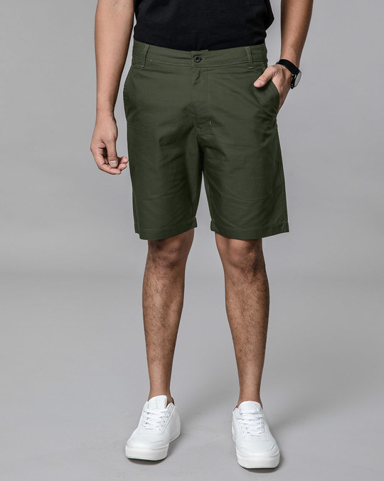 Shop Seaweed Green Lightweight Slim Oxford Shorts-Back