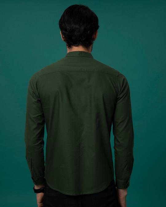 Shop Seaweed Green Slim Fit Oxford Full Sleeve Shirt-Full
