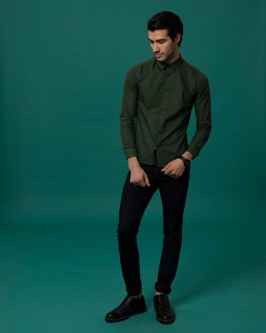 Shop Seaweed Green Slim Fit Oxford Full Sleeve Shirt