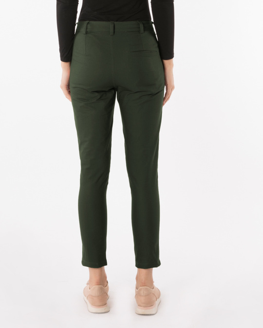 Shop Seaweed Green Lightweight Slim Oxford Pants-Design