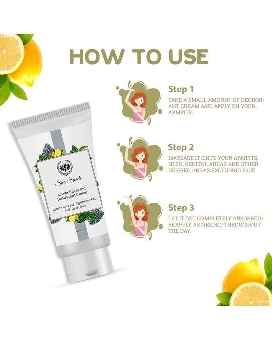 Shop Lemon Cypress Japanese Mint Active Silver Ion Deodorant Cream Tube-Design
