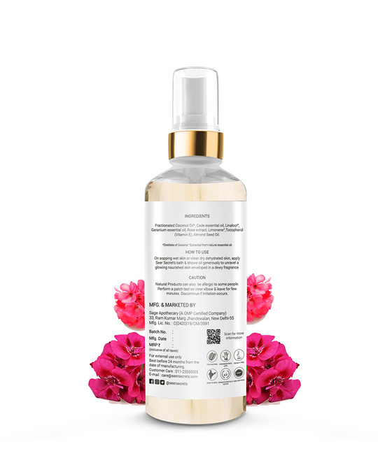 Shop Smoky Rose Geranium Deep Moisture Replenishing Bath And Shower Oil-Back